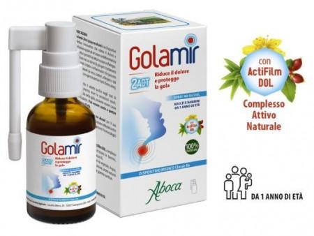 Spray No Alcool Golamir 2Act per la gola- Aboca immagini