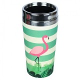 "Thermos in Bamboo ""Take away"" Flamingo - Woodway"