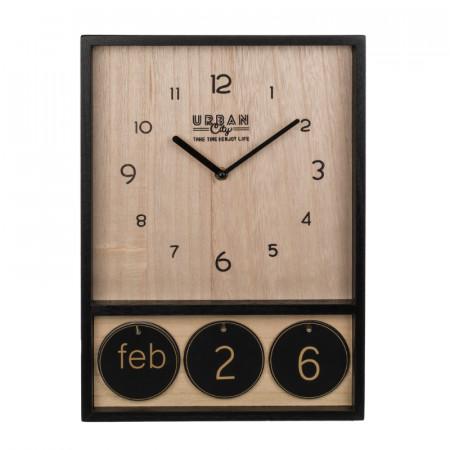 Ceas de perete din lemn cu calendar 2