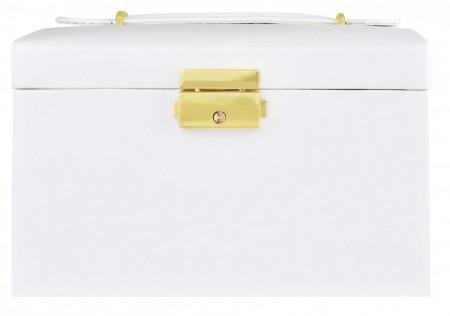 Cutie alba pentru bijuterii cu doua sertare si cheita