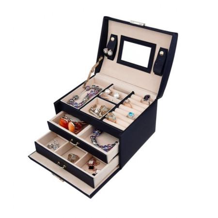 Cutie neagra pentru bijuterii cu doua sertare si cheita