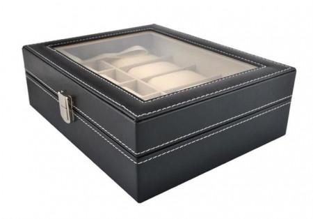 Cutie ceasuri 10 compartimente neagra