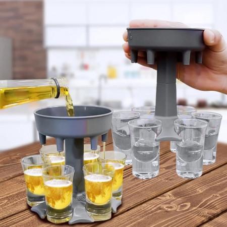 Dispenser gri pentru shoturi cu 6 pahare