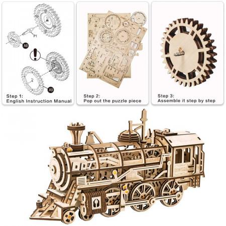 puzzle 3d din lemn locomotiva 3