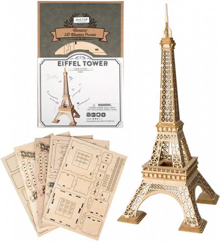 Puzzle 3D din lemn Turnul Eiffel continut cutie