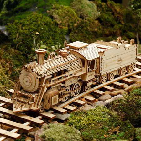 Puzzle 3D lemn Locomotiva cu aburi pe sina in munti