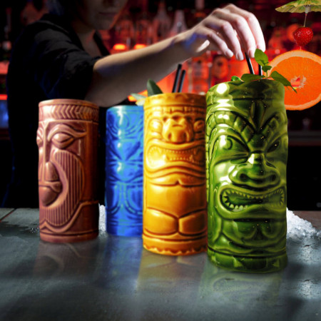 Set 4 pahare colorate Tiki pe bar