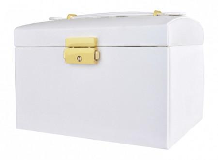 Cutie bijuterii cu doua sertare si cheita alb