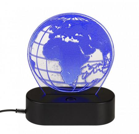 Lampa 3D glob pamantesc albastra