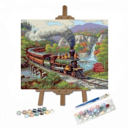 Pictura pe numere cu tren pe un pod in munti pe sevalet