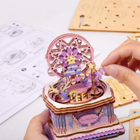 asamblare puzzle 3D din lemn cutie muzicala For my Dear de craciun