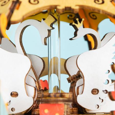 puzzle 3d din lemn cutie muzicala trasura lebede