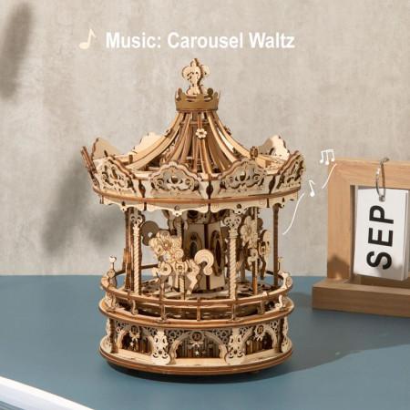Puzzle 3D lemn Cutie muzicala Carusel pe masa