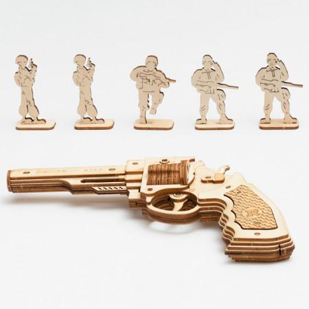 Puzzle 3D lemn Pistol si tinte