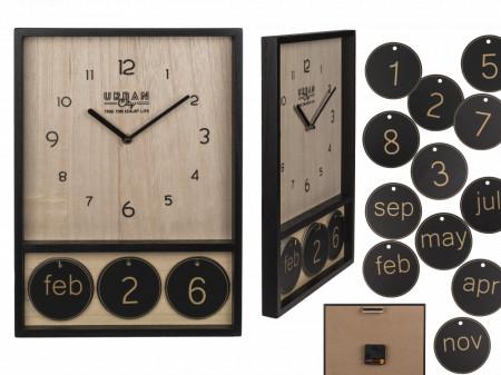 Ceas de perete din lemn cu calendar 3