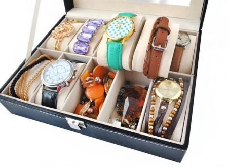 Cutie ceasuri 10 compartimente cu ceasuri si bijuterii