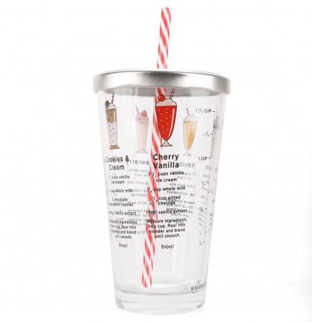 Pahar din sticla cu retete milkshake 1