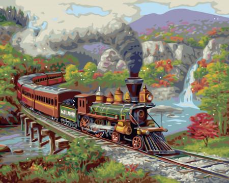 Pictura pe numere cu tren pe un pod in munti