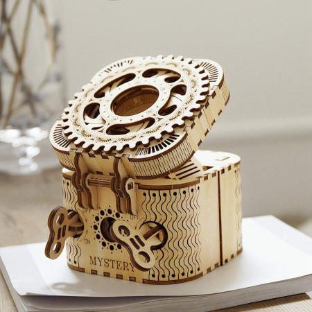 puzzle 3d din lemn cutie comori