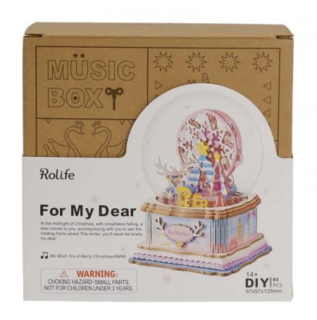 Puzzle 3D din lemn cutie muzicala For my Dear in cutie