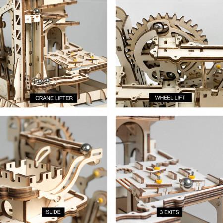 Puzzle 3D din lemn Marble Climber detalii