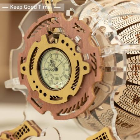 Puzzle 3D lemn Calendar si ceas de buzunar