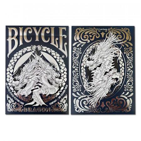 cutie carti de joc bicycle dragon albastru