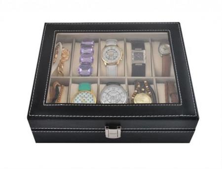 Cutie ceasuri 10 compartimente inchisa