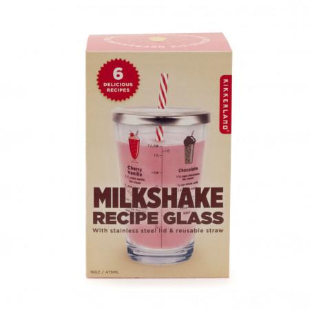 Pahar din sticla cu retete milkshake in cutie