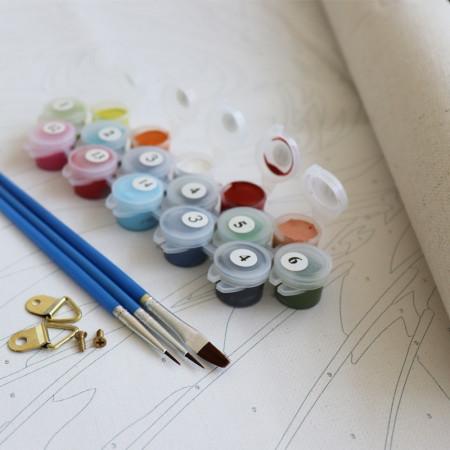 Vopseluiri pensule si agatatoare pentru picturile pe numere