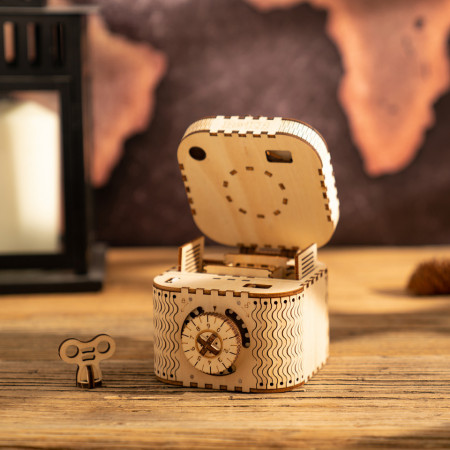 puzzle 3d din lemn cutie comori deschisa