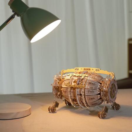 Puzzle 3D lemn Calendar si ceas de birou luminat