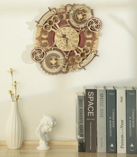 Puzzle 3D lemn Ceas cu calendar Zodiac pe perete