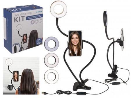 Kit Vlogging cu suport telefon si iluminare LED in cutie