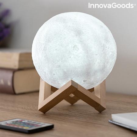 lampa led in forma de luna cu suport din lemn 2