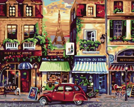 Pictura pe numere cu cafenele si Turnul Eiffel din vechiul Paris