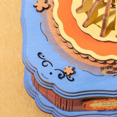 puzzle 3d din lemn gramofon colorat cutie muzicala detaliu 2