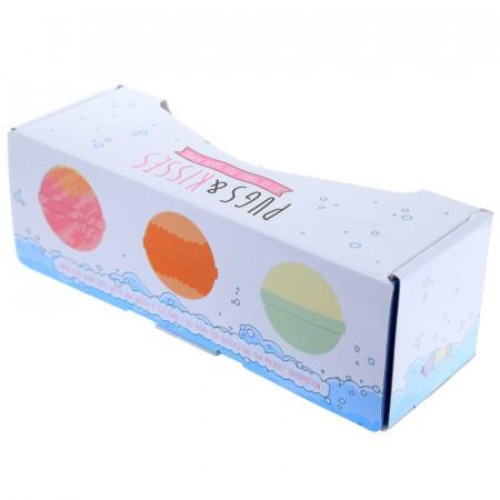 cutie cadou 3 bile efervescente pentru baie XXL Fruity