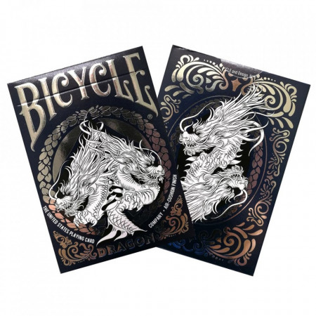 carti de joc bicycle dragon albastru in cutie
