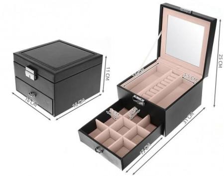 dimensiuni Cutie pentru bijuterii cu sertar si cheita