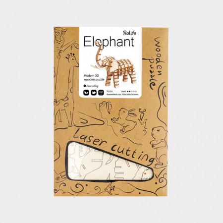 Cutie Puzzle 3D din lemn Elefant