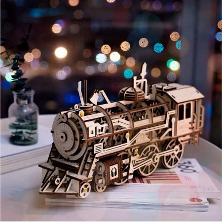 puzzle 3d din lemn locomotiva craciun