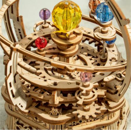 Puzzle 3D lemn Cutie muzicala Sistemul solar stary night detalii