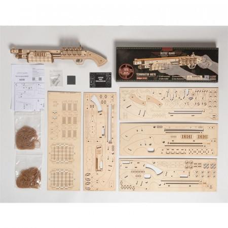 Puzzle 3D lemn Pusca continut cutie