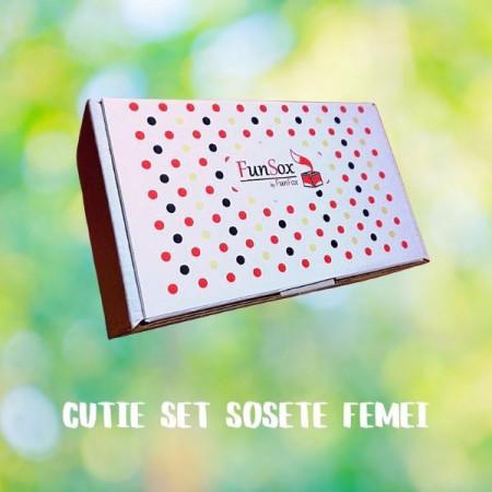 cutie de sosete colorate funsox pentru femei