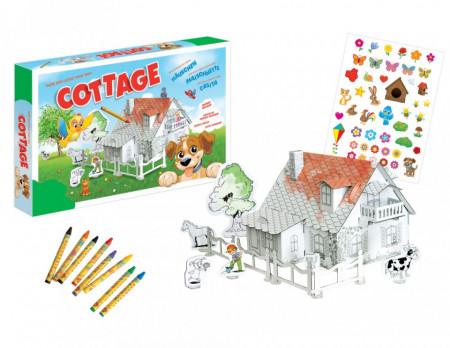 Set constructie si colorat Catelus la ferma cu casuta si creioane