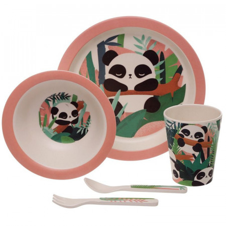 Set de masa pentru copii Bambus Panda