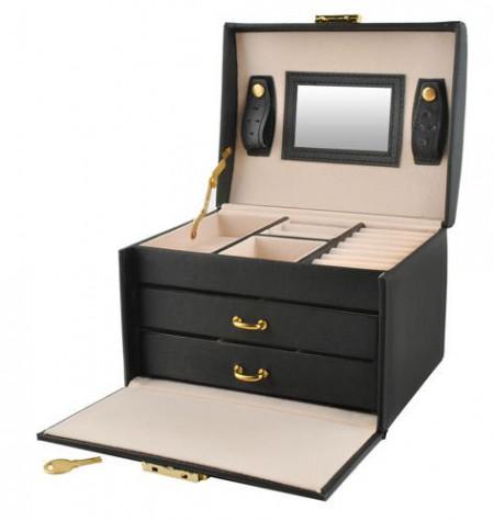 Cutie pentru bijuterii cu doua sertare si cheita