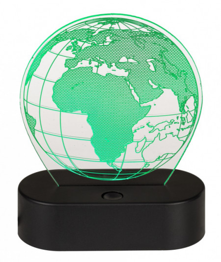 Lampa 3D glob pamantesc verde