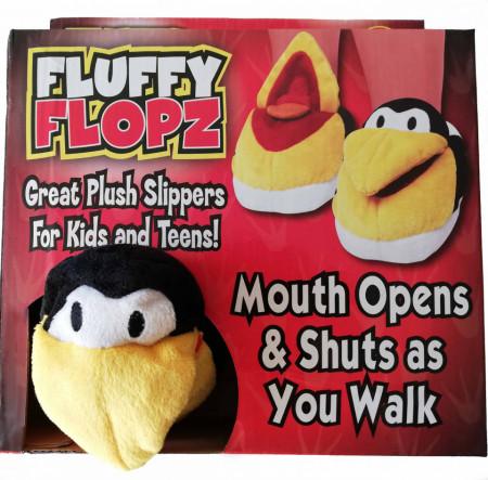 papuci pufosi pinguin in cutie